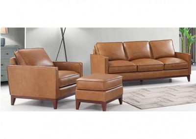 Newport Top Grain Leather Sofa and Chair