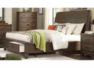 Rock Brown Platform Storage Bed Queen