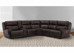 Image for Spencer 6pc Top Grain Leather Power Modular Sectional with Power Headrest, 3 Power Recliners and USB Charging Brown