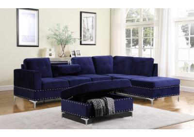 Image for Mercy Sofa Chaise with Reversible Chaise and Storage Ottoman - Blue