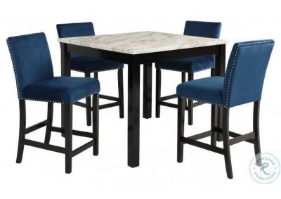 "Image for Cecilia 5 Pc 42"" Faux Marble Finish Counter Dining Set  - Blue"