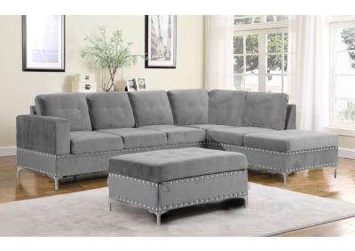 Image for Mercy Sofa Chaise with Reversible Chaise and Storage Ottoman - Gray