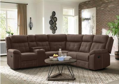 Image for Tyler 3pc Dual Reclining Sectional with Storage Console - Keystone Light Brown