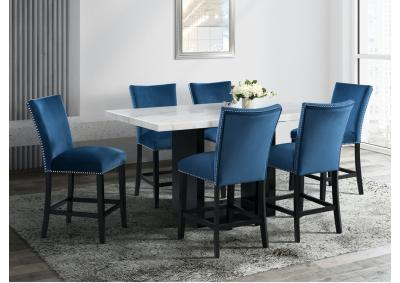 Image for Valentino Marble 7pc Counter Height Set with 6 Blue Fabric Stools