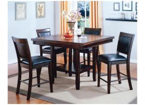 Melrose Espresso Counter Height Set - Table with 4 Stools