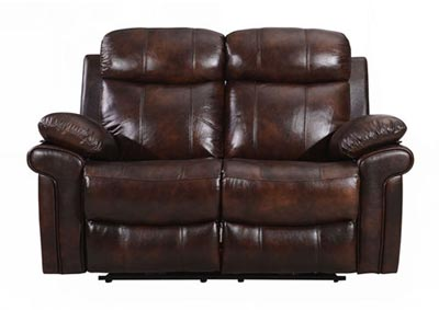 Joplin Top Grain Leather Dual Reclining Power Love Seat - Brown