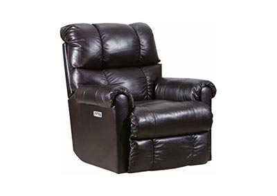 "Lane ""June"" Leather Power Rocker - Recliner with Heat and Massage - Bark"
