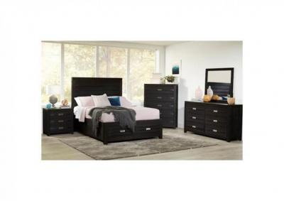 Altima Black 4pc Storage Platform Bedroom Group - Queen