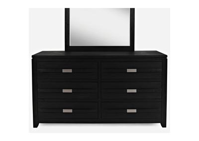 Altima 6 Drawer Black Dresser and Beveled Mirror