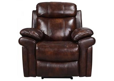 Joplin Top Grain Leather Power Recliner - Brown