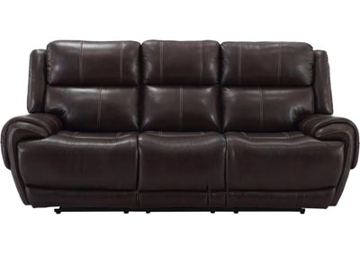 Image for Spencer Top Grain Leather Power Dual Reclining Sofa with Power Headrest and USB Charging Brown