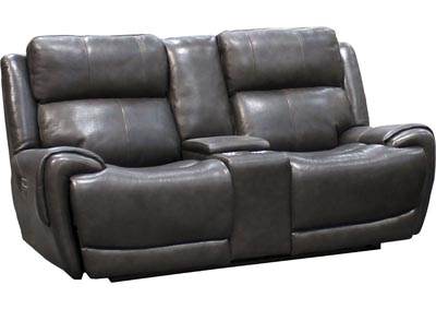 "Spencer Top Grain Leather Power Dual Reclining Love Seat with Power Headrest and USB Charging  "" Gray"