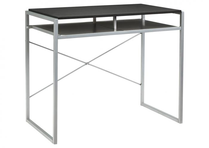 Bertmond Black/Silver Metal Home Office Desk,Ashley Close Out