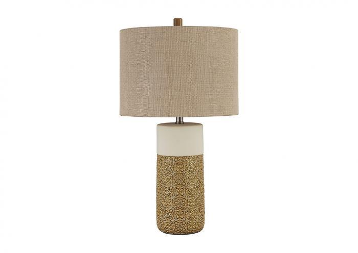 Evalyn Ochre Ceramic Table Lamp,Ashley Close Out