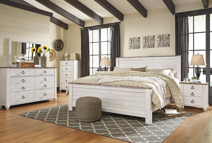 Willowton Whitewash King Panel Bed w/Dresser, Mirror and Nightstand,Hot Buys
