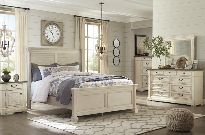 Bolanburg White King Panel Bed w/Dresser, Mirror and Nightstand,Hot Buys
