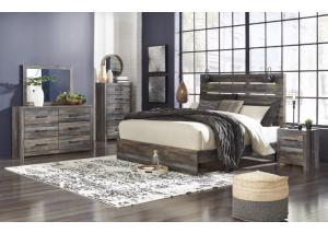 Drystan King Panel Bed w/Dresser, Mirror and Nightstand