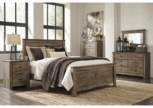 Trinell Queen Panel Bed w/Dresser, Mirror and Nightstand