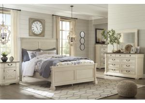 Bolanburg White King Panel Bed w/Dresser, Mirror and Nightstand