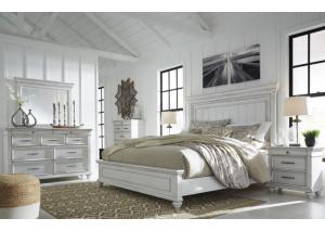 Kanwyn Whitewash Queen Panel Bed w/Dresser, Mirror and Nightstand