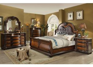 Image for King Sleigh Bed, Marble Top Dresser, Mirror and Marble Top Nightstand.