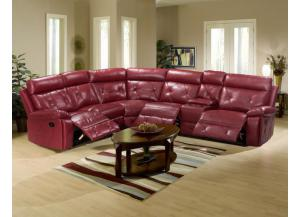 Image for Red Reclining Sectional With 2 Cup Holders