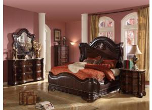 Image for King Bed, Marble Top Dresser, Mirror and Marble Top Nightstand.