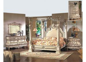 Image for King Canopy Bed, Marble Top Dresser, Mirror and Marble Top Nightstand