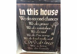 "Image for ""In this house we do second chances…""  Wall Art"