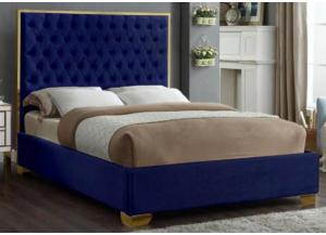 Image for Lexi Blue w/Gold Trim Queen Bed