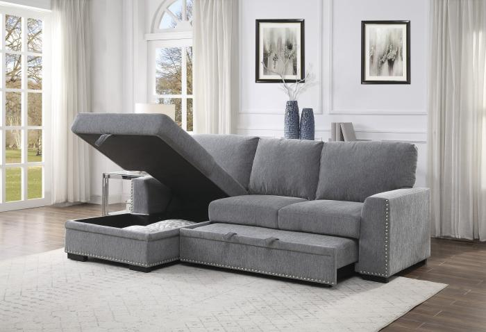 Morelia Left Chaise Sectional with Sleeper and Storage,New and Hot