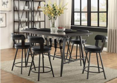 Image for Appert Glass, Wood & Metal Counter Height 5pc Dining Table Set - Black