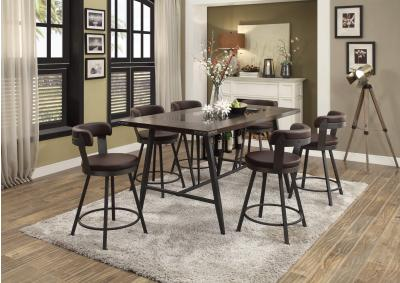 Image for Appert Glass, Wood & Metal Counter Height 5pc Dining Table Set - Brown