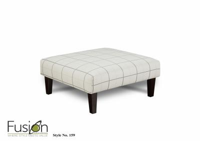 Image for Windopane Chalk Cocktail Ottoman w/Revolution Fabric- Evenings Stone Collection