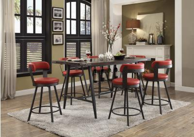 Image for Appert Glass, Wood & Metal Counter Height 5pc Dining Table Set - Red