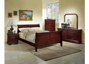 Image for Louis Philippe Cherry Dresser, Mirror, Queen Bed & Nightstand