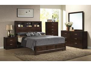 Image for Walnut Finish Dresser, Mirror, Queen Bookcase Bed, Nightstand & Chest