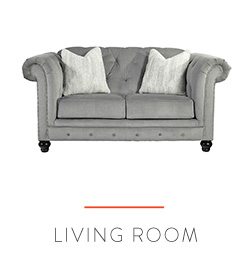 Gray living room loveseat with rolled arms