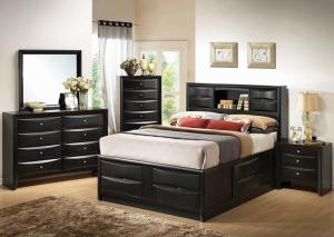 Image for Briana Black Queen Storage Bed w/Dresser, Mirror & Nightstand