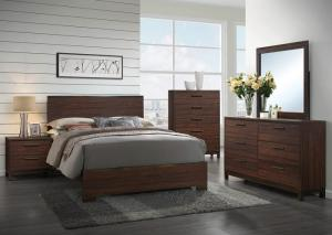 Image for Rustic Tobacco/Dark Bronze Queen Panel Bed w/Dresser, Mirror & Nightstand