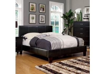 Image for Queen Platform Bed and Mattress Combo Espresso Leatherette