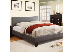 Image for Queen Platform Bed and Mattress Combo Gray Leatherette