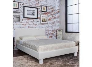 Image for Queen Platform Bed and Mattress Combo White Leatherette