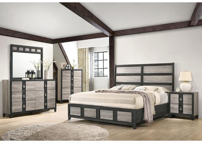 Gray Queen Headboard, Footboard & Slats , Gray Dresser, Gray Mirror, Nightstand,Titanic Furniture