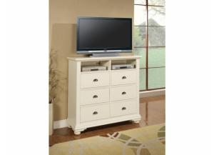 Image for Elements Brook White 6 Drawer Media Chest