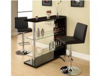 Image for Black Bar Table w/Wine Glass Holder
