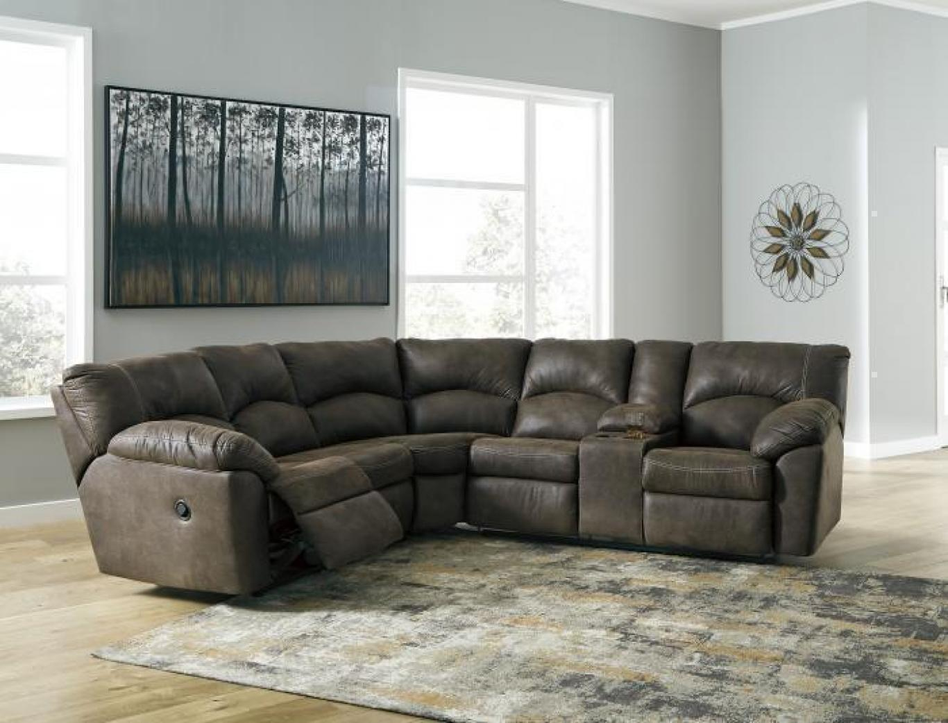 "Tambo Brown Reclining Sectional + FREE 50"" TV ,Tax Return Sales Event 2021"
