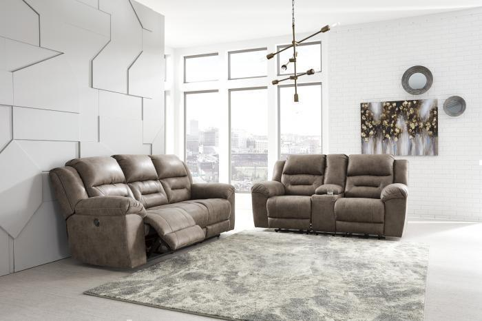"Stoneland Gray Reclining Sofa & Loveseat + FREE 50"" TV,Tax Return Sales Event 2021"
