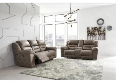"Stoneland Gray Reclining Sofa & Loveseat + FREE 50"" TV"