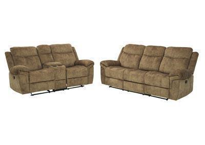 Huddle-Up Nutmeg Reclining Sofa, Loveseat w/Console and Drop Down Table & Rocker Recliner